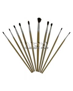 Assorted Pack of Touch Up Brushes - Short Plain Wooden Handles