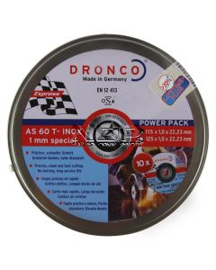 """DRONCO '1mm Inox Special' - 115 x 1 x 22.23mm  O.D. 4½"""" - Pack of 25 Cutting Discs"""