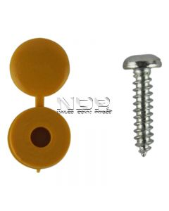 Number Plate Fasteners - Self-Tappers with Hinged Caps - Yellow