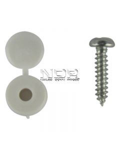 Number Plate Fasteners - Self-Tappers with Hinged Caps - White