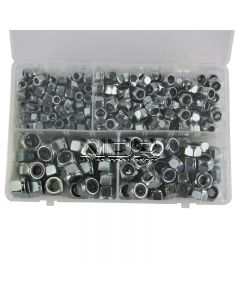 Assortment Box of Nylon Lock Nuts - Metric (Popular Sizes) - M6, M8, M10, M12 - 300 pieces